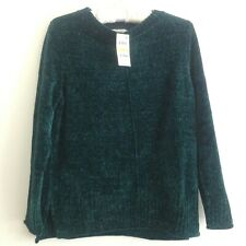 Style & Co Chenille Sweater Crew Neck Pull Over Long Sleeve Knit Green PM NWT