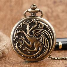 Game of Thrones Dragon Pocket Watch Necklace Pendant Men Retro Antique Steampunk