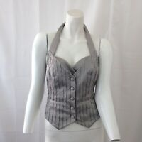 Guess by Marciano Womens Gray Halter Beaded Vest Size 2