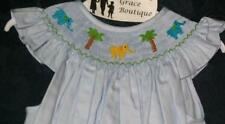 Girls smocked Angel Wing bishop 2T ELEPHANTS Zoo Dress New Vive La Fete Circus
