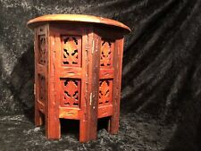 WOODEN ETHNIC TABLE BRASS INLAID FRETWORK INDIAN OCTAGONAL