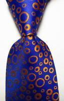 New Classic Polka Dot Blue Gold JACQUARD WOVEN Silk Men's Tie Necktie