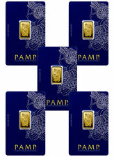 Lot of 5 - PAMP Suisse 5 gram .9999 Gold Bars - Sealed w/Assay Cert. SKU30875