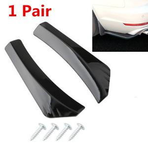 2pcs Spoiler Winglet Diffuser Universal Glossy Black For Car Rear Bumper Protect