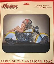 "INDIAN MOTORCYCLE MOUSE PAD ~ ""INDIAN BABE ON MC"" ~ 9 1/4"" x 7 3/4"" x 1/8"" ~ NEW"