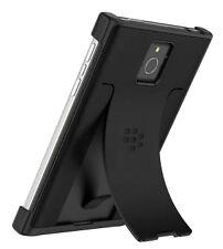 100 Genuine BlackBerry Passport Black Leather Flex Shell Kick Stand Cover Case