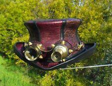 CROC PRINT LEATHERS WATERWORLD STYLE STEAMPUNK HAT/ VINTAGE AVIATOR GOGGLES