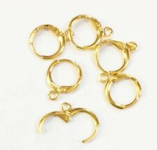 100 pcs Gold plated round lever back ear wire 12mm