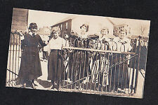 Old Vintage Photograph Women in Cool Outfits Standing Behind Fence