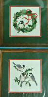 Bucilla Cross Stich Kit Christmas Chickadee Set of 2 Pictures NEW Vintage 1993