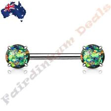 316L Surgical Steel Nipple Barbell with Prong Set Dark Green Glitter Opals Ends