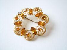 Goldfarbene Modeschmuck Brosche mit honigfarbenen Strass Steinen 6,6 g/Ø 3,6 cm