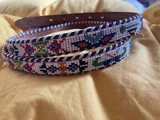 Vintage Beaded Leather Belt Native American Southwest Indian 42 Thunderbird Mint