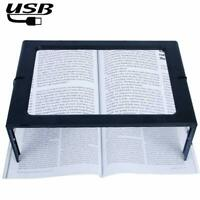 Hands-Free 3X Magnifying Glass Large Full Page Magnifier with LED Lighted, for