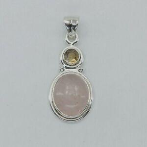Genuine, Natural, Yellow CITRINE and Rose Quartz Pendant 925 STERLING SILVER #50