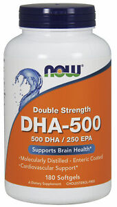 NOW Supplements DHA-500, Double Strength - 180 Softgels