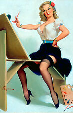 Framed Print - Gil Elvgren Classic Vintage Pin Up Painting on an Easel (Picture)