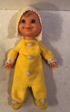 Vintage 1970 Mattel Baby Beans Doll Yellow Pom Pom Blue eyes Blonde