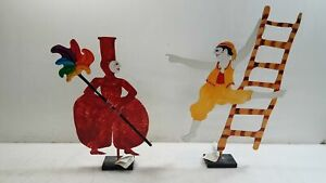 2x Judie Bomberger Cirque du Soleil Hand Painted Sculptures w/ Tags Attached