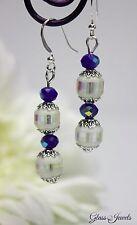 Glass Jewels Silber Ohrringe Ohrhänger Perlen Blau Oktoberfest Filigran #LA039