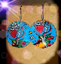 Up-Cycled Day Of The Dead Energy Drink  Can Earrings. Made By Me! Free Shipping!
