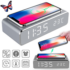 LED Electric Alarm Clock Wireless Charger Charging Pad Station Thermometer Gifts