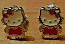 Sterling Silver & Enamel Hello Kitty Stud Earrings