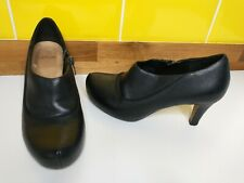 Clarks Black Leather Shoe Boots Size 4 / 37 Clarks Plus Ankle Boots High Heel