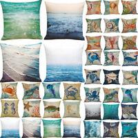 Ocean Beach Sea Cotton Linen Pillow Case Sofa Bed Throw Cushion Cover Home Decor