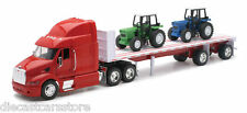 NEW RAY TRAILER PETERBILT MODEL 387 Red With 2 FARM TRACTOR 1/32