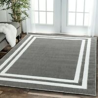 Area rug Nwprt #69 modern gray and white soft pile sizes 2x3 4x5 5x7 8x11