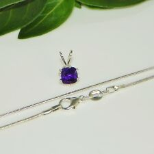 6mm Cushion Purple African Amethyst Sterling Silver Pendant w/Chain Necklace