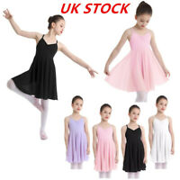 UK_Kids Girls Ballet Dance Leotard Dress Bodysuit Gymnastics Tutu Skirt Outfit