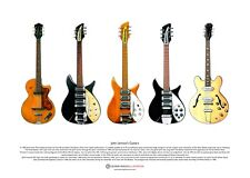 John Lennon's Guitars ART POSTER A3 size