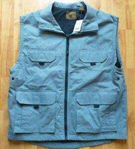 St Johns Bay Metal Grey Cotton Outdoor Fishing/Hiking Vest 6 Pockets - Sz Large