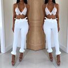 Summer Ruffles Slim Spandex Elegant Ladies Trousers Female Ankle Length Pants