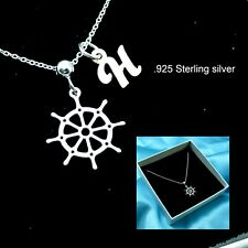 Ship Wheel Necklace Sterling silver Sailor Jewellery Initial Charm Necklace