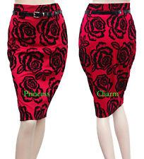 Womens Black Red Pencil Skirt w Floral Design n Belt AU Size 8 Knee Length New