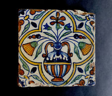 Very rare and early - DELFT POLYCHROME TILE, circa 1600 - 1620