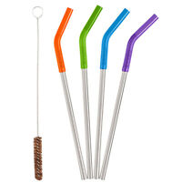 Klean Kanteen 4 Pack Stainless Steel Replacement Straws with Cleaning Brush