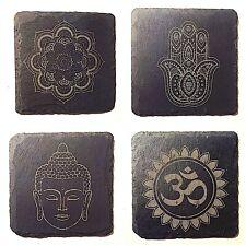 Diseño De Yoga/Pizarra Posavasos Set Mandala decoración grabada hamsa Om Buda símbolos