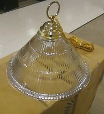 Light Pendant W/ Clear Ribbed Glass Shade ~ Polished Brass ~ Thomas Lighting