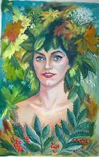RUSSIAN OIL CANVAS PAINTING SIVUKHIN NAIVE FOLK ART GIRL PORTRAIT 1998 FANTASY