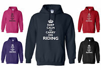 NEW HORSE HOODY 'KEEP CALM AND CARRY ON RIDING' S/M/L/XL/XXL