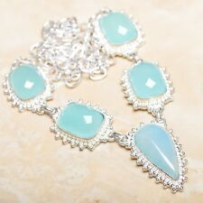 "Handmade Chrysoprase Jasper Gemstone 925 Sterling Silver Necklace 19.5"" #N00868"