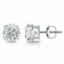 0.60 Cts F/VS1 GIA Round Brilliant Cut Natural Diamond Stud Earrings In 18K Gold