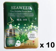 10pcs Korea Beauty Cosmetics [Malie] SEAWEED Essence Face Mask sheets & peels