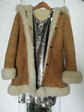 Vintage sheepskin hooded coat size 8