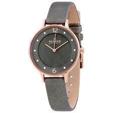 Skagen Anita Grey Dial Grey Leather Ladies Watch SKW2267