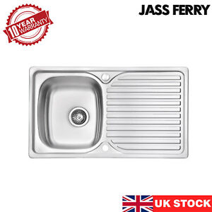 JASSFERRY Stainless Steel Kitchen Sink Reversible Drainer Single Bowl 860x500mm